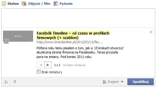 Jak odświeżyć tytuł/opis strony publikując ją ponownie na Facebook'u?